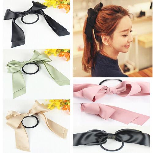 Zopfband Haargummi Haarband Haarschleife groß Doppelter Schleife Satin 9 Farben