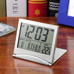 Folding Digital LCD Thermometer Calendar Date Travel Alarm Clock Useful