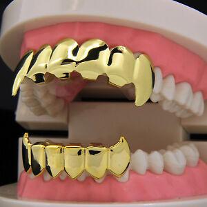New Custom 14k Gold Plated Hip Hop Teeth Grillz Caps Top & Bottom Grill Fang Set
