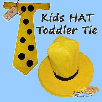 BOYS HAT & TODDLER TIE Man in the yellow HAT Curious George costume