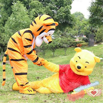 Winnie The Pooh Bear & Tigger Mascot Costume Halloween Party Fancy Dress Adults - Winnie The Pooh Halloween Costumes Adults