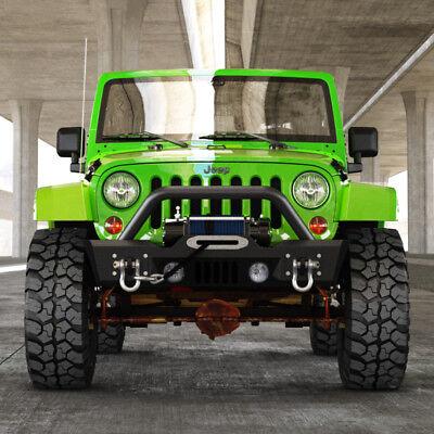 07-18 Jeep Wrangler JK Stubby Front Bumper&Winch Plate W/OE Fog Light Housing