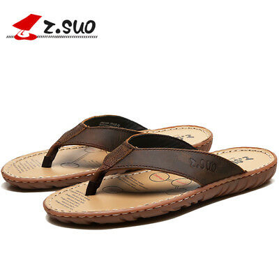 Men's Retro Flip Flops Athletic Leather Sandals Antiskid Rubber Sole# US 7-11
