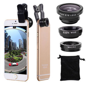 Universal 3in1 Clip On Camera Lens Kit Wide Angle Fish Eye Macro iPhone Samsung