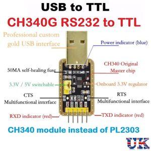 USB To RS232 TTL CH340G Converter Module 5v 3.3v Serial Port Module PL2303 UK
