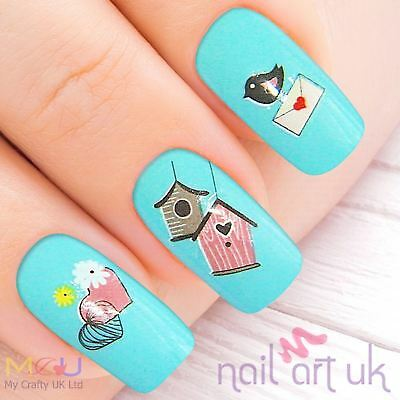 Pink & Yellow Bird Cage Water Decal Nail Stickers Tattoo Art 01.03.064