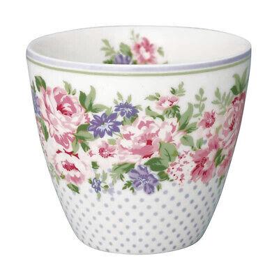 GreenGate Latte Cup Becher Tasse 'Rose white' Blumen Vintage Landhausstil Shabby White Rose Tasse