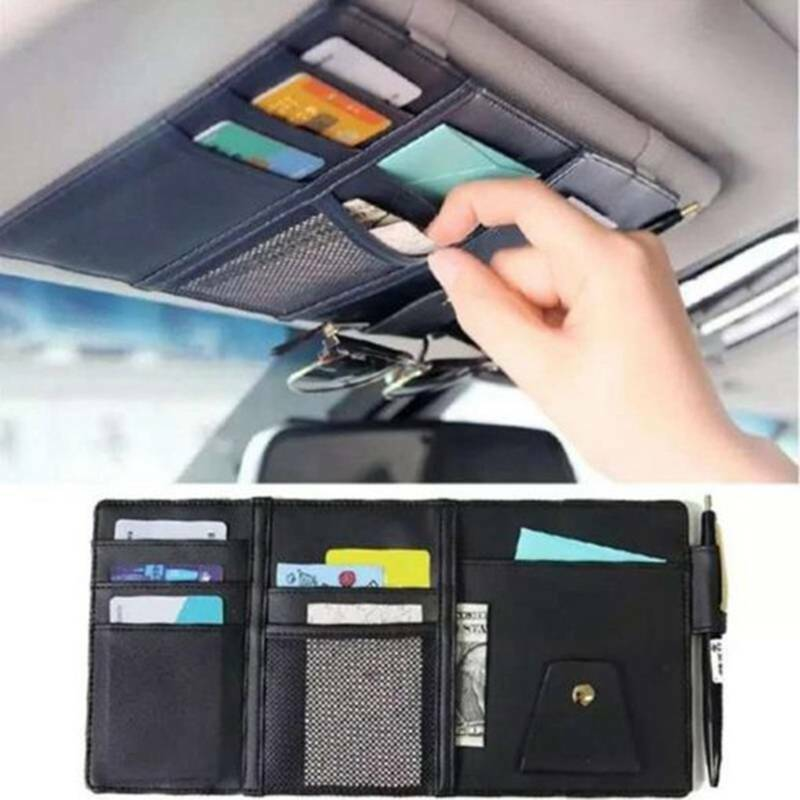 PU Car Sun Visor Pocket Organizer Pouch Bag Card Pen Glasses