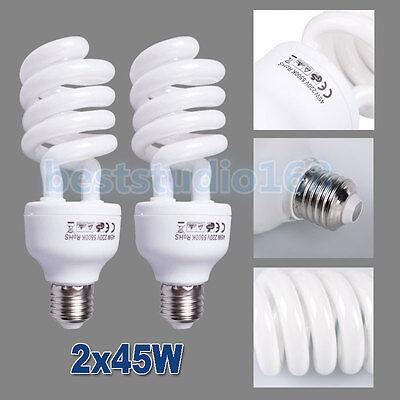 2x 45W Daylight Lighting Photo Studio Continuous Light 5500k E27 Umbrella Bulb