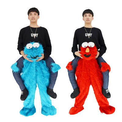 Elmo Funny Sesame Street Cookie Monster Mascot Costume Me Ride On Party Dress US](Funny Monster Costume)