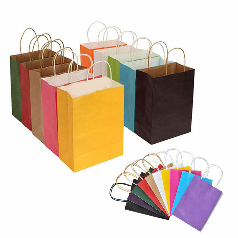 Recyclable 10 Colors Party Bags Kraft Paper Gift Bag With Ha