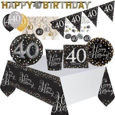 Gold Sparkle 40th Birthday Party Supplies Tableware, Decorations, Balloons (40th Birthday Party Supplies)