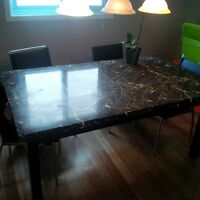 granite table and four chairs
