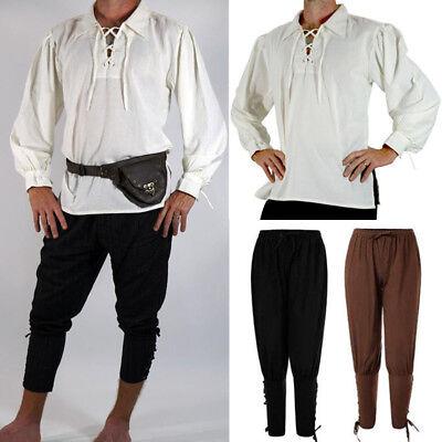 Mittelalterliche Renaissance Männer Shirt Top Hosen Ritter Pirat Kostüme Cosplay (Renaissance Kostüme Männer)