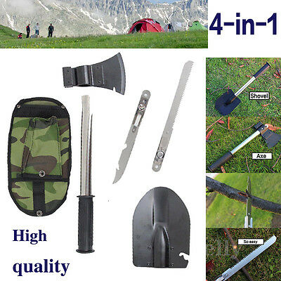 4in1 Survival Knife Shovel Axe Saw Gut Camping Hiking Emergency Gear Tools Kit