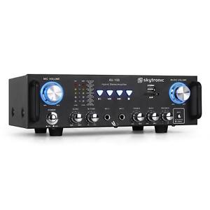 HOME STEREO AMPLIFIER MUSIC HIFI AMP KARAOKE 2X MIC INPUT BLACK USB SD CARD MP3