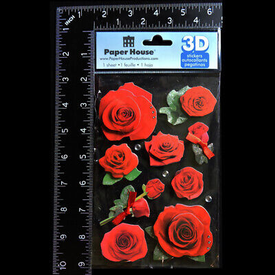 PAPER HOUSE 3D Red Roses Flowers Floral STICKERS PACK Glitter Gems FREE USA SHIP for sale  Aromas
