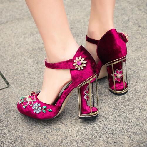 104476faa07 2017 Women's Floral Decor High Heels Pumps Rhinestone Clear Ankle ...