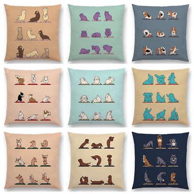 Interesting Animals Yoga Funny Cartoon Hippo Dogs Cushion Cover Sofa Pillow Case ()