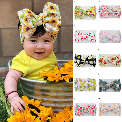Baby Headbands Big Bowknot Headwraps Turban Flower Printed Hair Accessories