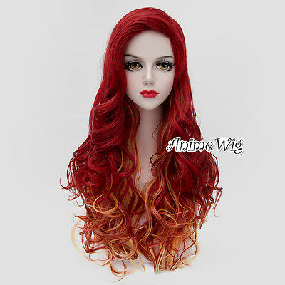 Lolita Ombre Red Mixed Orange Curly Long Cosplay Heat Resistant Halloween Wig (Long Red Wigs Halloween)
