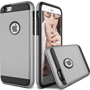 HYBRID BRUSHED CASE COVER FOR IPHONE 6+ & 6S PLUS ARMY SILVER