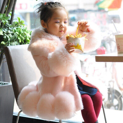 Child Sweet - Girls Chic Sweet Child Kids Girls Faux Fur Furry Warm Jacket Parka Trench Coat