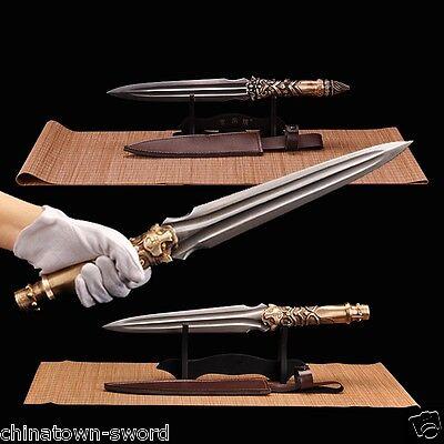 Dragon tiger Overlord Spear pike Spearhead Short sword Folded steel sharp #0037
