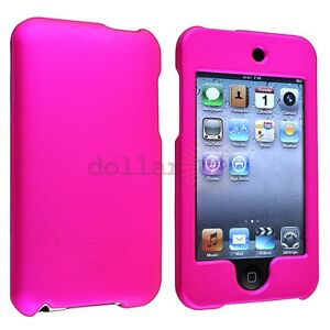 Hot Pink Rubber Hard Case Cover For iPod Touch 3rd 2nd Gen 3G 2G