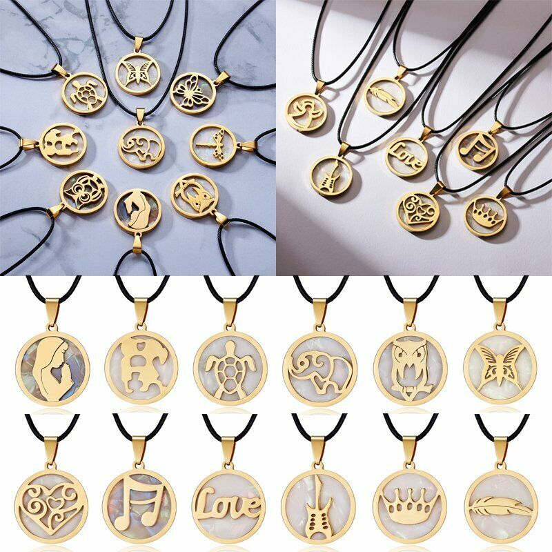 Fashion Women Gold Stainless Steel Shell Necklaces Pendant L