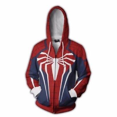 USA Spider-Man Adult Cosplay Costume 3D Print Zipper Jacket Hoodie Sweatshirt