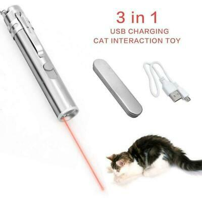 Cat Interactive Toy Laser Pointer Led Flashlight USB Rechargeable Torch Pen Box