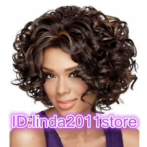 Ladies fashion Curly mixed Brown Natural Hair Women's Wigs + wig cap