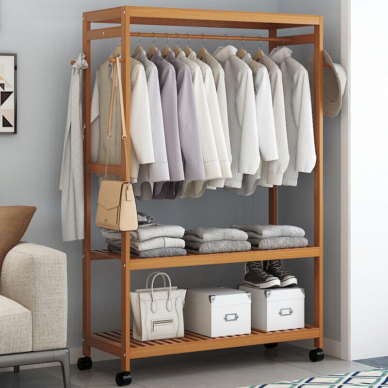 3 Tier Clothes Rack Heavy Duty Wood Garment Shelves Rolling Wheels Side Hooks