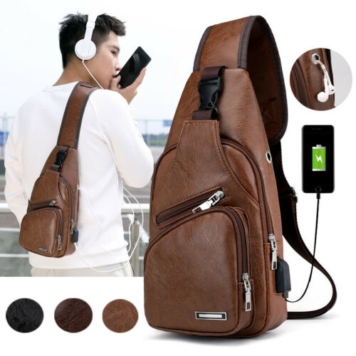 Men's Shoulder Bag Sling Chest Pack Canvas USB Charging Spor