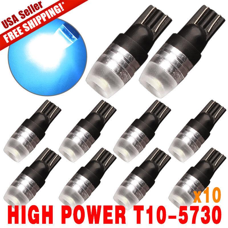 10 X Ice Blue T10 Wedge High Power 1W Car LED  Bulbs 12V 192 168 194 US