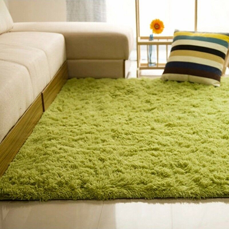 shaggy fluffy tapis antid rapant rug salle manger carpette chambre plancher ebay. Black Bedroom Furniture Sets. Home Design Ideas