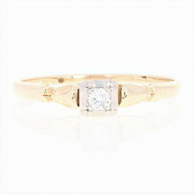 Vintage Diamond Engagement Ring - 14k Gold & Palladium Round Brilliant Solitaire