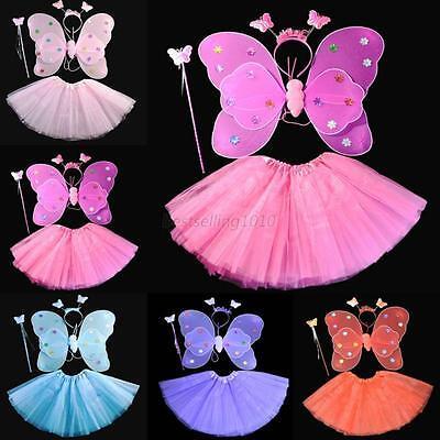 4Pcs Set Kids Girls Fairy Angel Butterfly Wings Headband Skirt Wand Fancy Dress