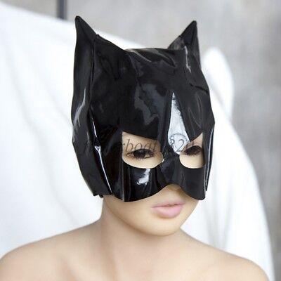 Patent/Enamel Leather Cat Woman Dominatrix Mask Restraint Hood Head Roleplay - Cat Head Mask