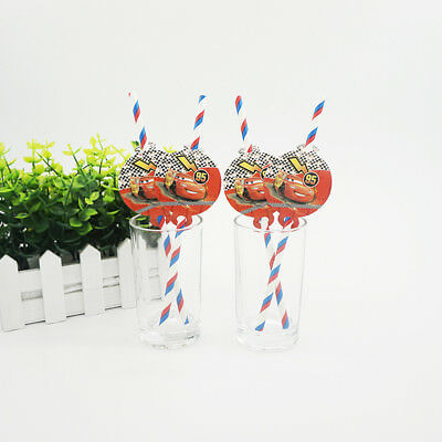 12pcs Disney Car Straws Party Supplies Decoration Biodegradable Paper Straw