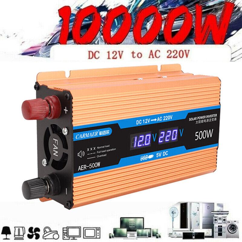 Solar Power Inverter 10000W 5000W DC12V To AC 220V Sine Converter Wave Inverter