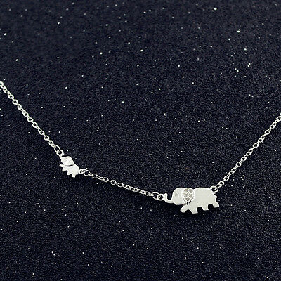 - 925 Sterling Silver Cubic Zirconia Pave Auspicious Lucky Cute Elephant Necklace