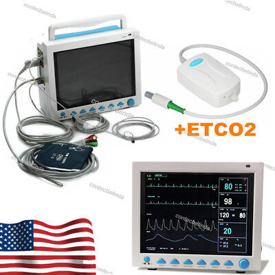 Cms8000 With Capnograph Co2 Patient Monitor Vital Signs 7 Parameters Newest 2019