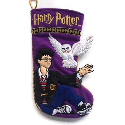"Harry Potter Hedwig 3D Christmas Stocking Quilted Felt Enesco 15"" 2001 Purple"