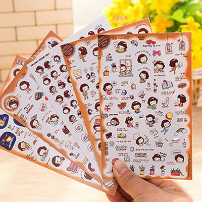 5Pcs Korean Kawaii girl sticker DIY Scrapbook Diary Notebook Ablums Decorative (Diy Notebook)