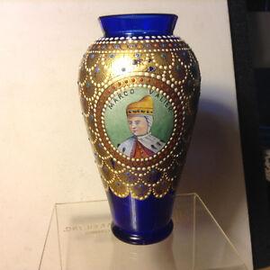Antiques MURANO VENETIAN HAND PAINTED  Cobalt Blue GLASS VASE WI