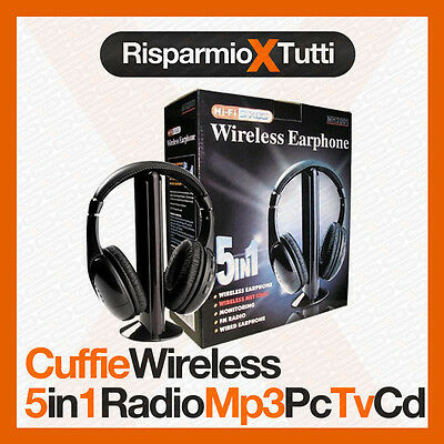 CUFFIE WIRELESS CUFFIA 5 IN 1 SENZA FILI MICROFONO RADIO WI-FI TV PC CHAT 6b58f189719c