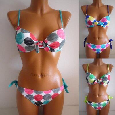 Polka Dot Bügel Bikini Set Pünktchen Push Up Retro Badeanzug Gepunktet* 34 36-40 Polka Set