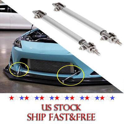 2x Silver Stainless Steel 10cm Bumper Lip Splitter Tie Rod Bars Support US Stainless Steel Splitter